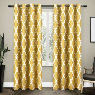 Inspiration about Ironwork 52 In. W X 96 In. L Woven Blackout Grommet Top Curtain Panel In  Sundress Yellow (2 Panels) Intended For Woven Blackout Curtain Panel Pairs With Grommet Top (#11 of 42)