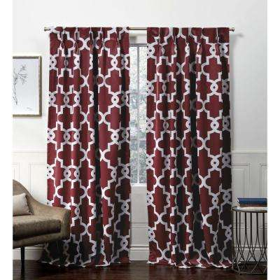 Inspiration about Ironwork Pp Burgundy Blackout Triple Pinch Pleat Top Curtain Panel – 27 In.  W X 84 In. L (2 Panel) In Elrene Versailles Pleated Blackout Curtain Panels (#37 of 38)