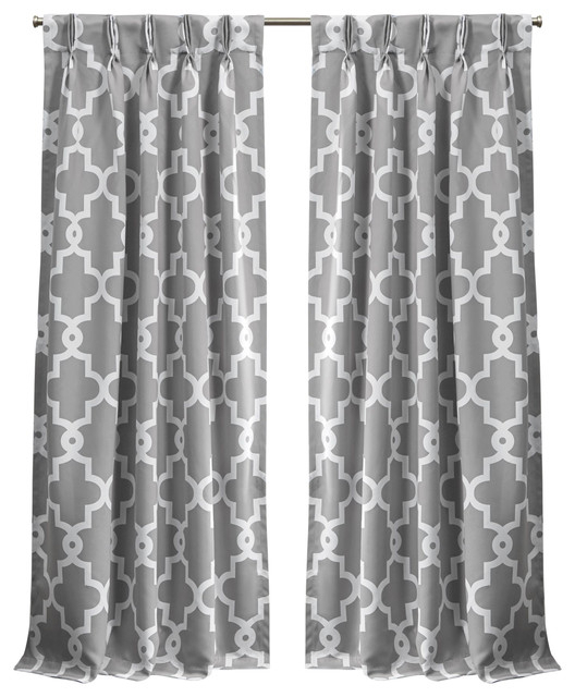 """Ironwork Sateen Woven Blackout Pinch Pleat Curtain Panel Pair, Silver, 84"""" With Sateen Woven Blackout Curtain Panel Pairs With Pinch Pleat Top (#15 of 40)"""