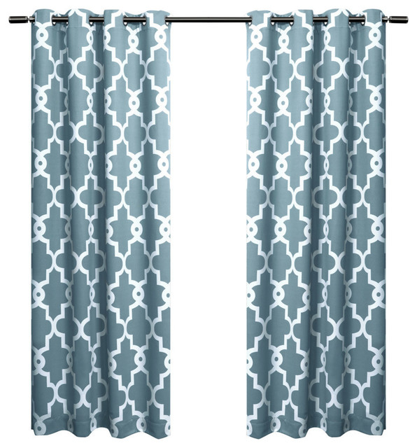 Inspiration about Ironwork Sateen Woven Room Darkening Window Curtain Panel Pair, 52X108, Teal With Sateen Woven Blackout Curtain Panel Pairs With Pinch Pleat Top (#31 of 40)