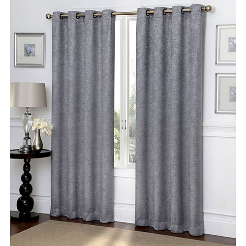 Ironwork Scroll Embossed Blackout Grommet Curtain Panel Within Blackout Grommet Curtain Panels (View 6 of 40)