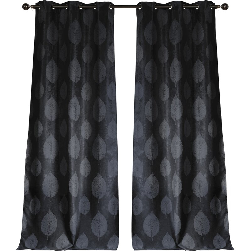 Inspiration about Iselin Sheila Leaf Floral/flower Blackout Grommet Curtain Panels Regarding Overseas Leaf Swirl Embroidered Curtain Panel Pairs (#47 of 50)