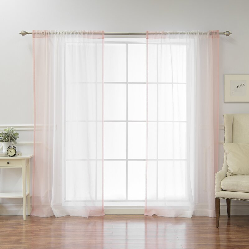 Isidro Solid Sheer Rod Pocket Curtain Panels Throughout Ombre Faux Linen Semi Sheer Curtains (#25 of 50)
