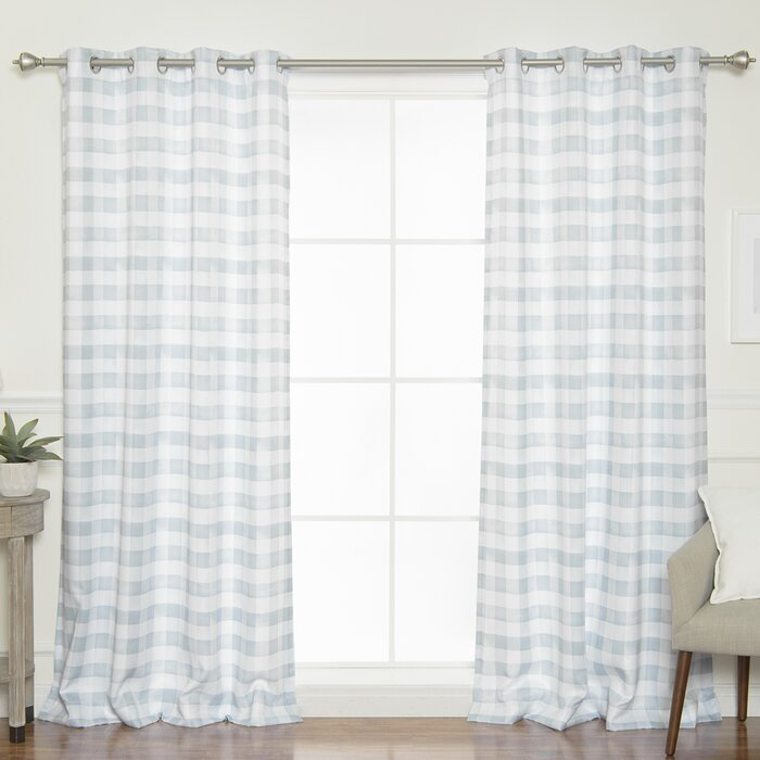 Inspiration about Isom Watercolor Check Plaid Room Darkening Grommet Panel Pair For Curtain Panel Pairs (#1 of 26)