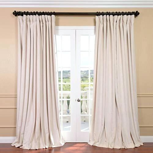 Ivory Linen Blackout Curtains Velvet Curtain Panel Back Gs Intended For Signature Blackout Velvet Curtains (#20 of 50)