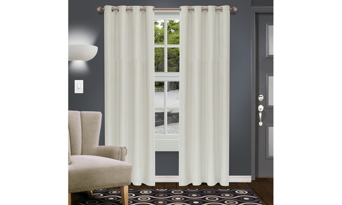 Ivory Shimmer Insulated Thermal Blackout Grommet Curtain In Insulated Thermal Blackout Curtain Panel Pairs (#30 of 50)