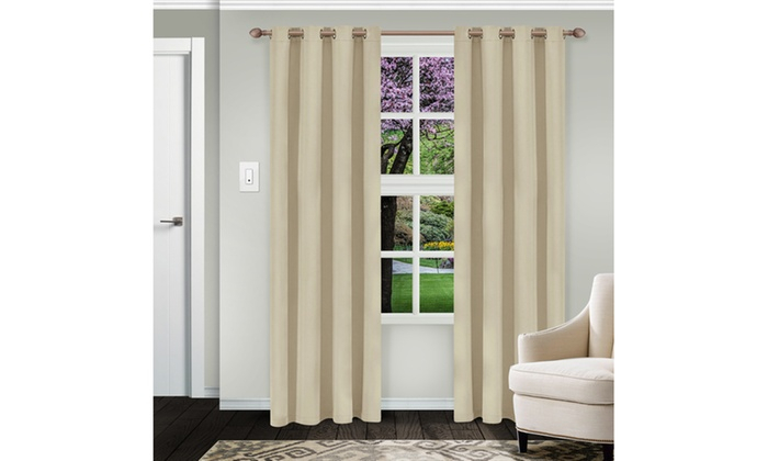 Ivory Waverly Insulated Thermal Blackout Grommet Curtain Inside Insulated Blackout Grommet Window Curtain Panel Pairs (View 21 of 37)
