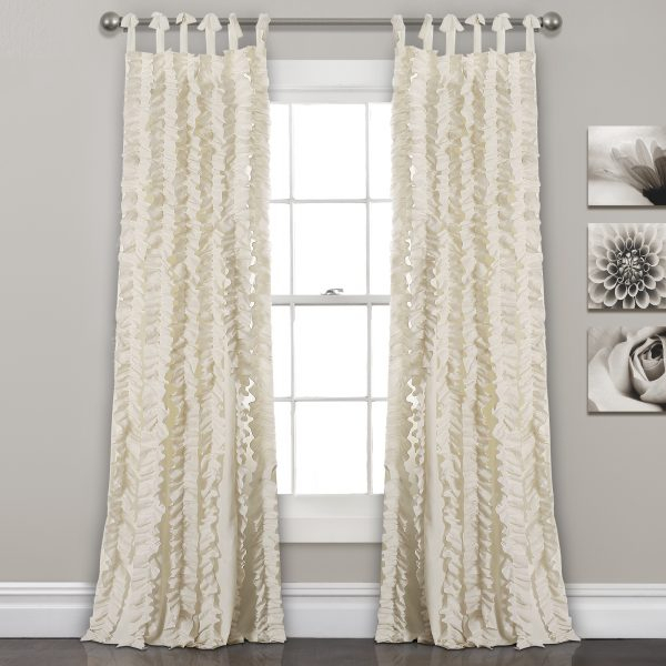 Inspiration about Ivory White 84'x40' Sophia Ruffle Window Curtain Set Inside Lydia Ruffle Window Curtain Panel Pairs (#28 of 43)