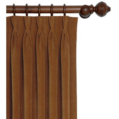 Jackson Solid Velvet Pinch Pleat Single Curtain Panel | Erin Intended For Solid Cotton Pleated Curtains (#20 of 50)