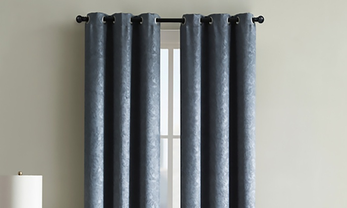 Jamie Embossed Blackout Window Curtain Panel (1 Pair) | Groupon Intended For Embossed Thermal Weaved Blackout Grommet Drapery Curtains (View 26 of 42)