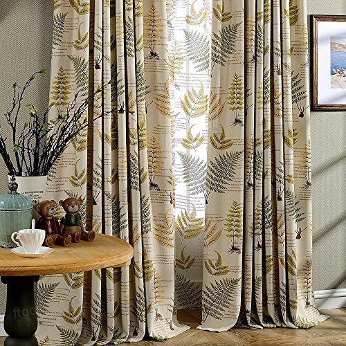 Jaoul Botanical Fern Leaves Linen Blackout Kids Curtains Pertaining To Superior Leaves Insulated Thermal Blackout Grommet Curtain Panel Pairs (#28 of 50)