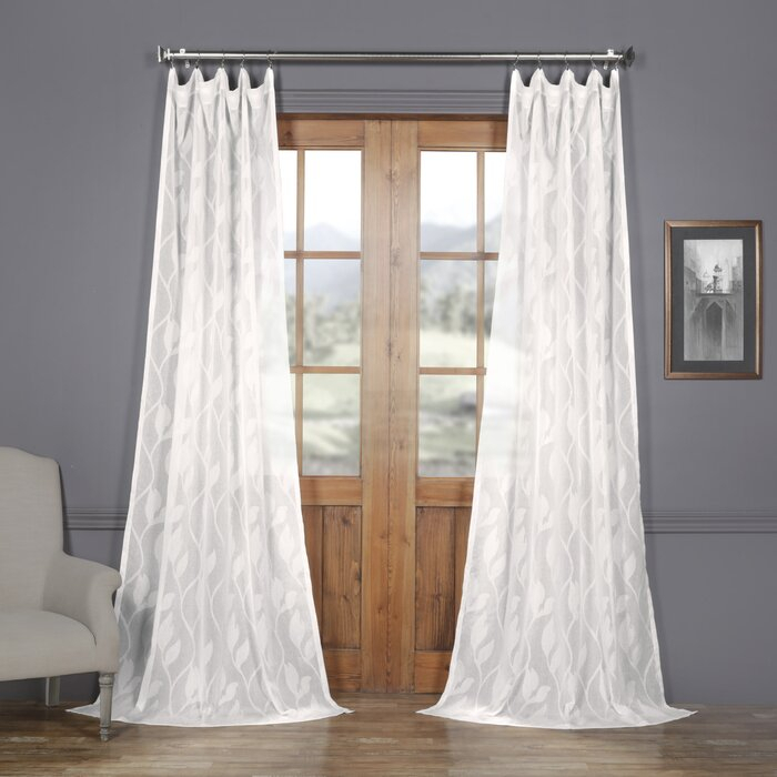 Jayapura Patterned Linen 100% Polyester Damask Sheer Rod Pocket Single  Curtain Panel With Caldwell Curtain Panel Pairs (View 5 of 27)