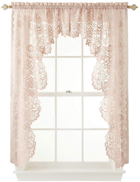 Jcp Home Hometm Shari 2 Pack Lace Rod Pocket Cascade Valance With Regard To Alison Rod Pocket Lace Window Curtain Panels (View 19 of 44)