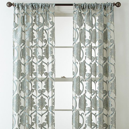 Jcpenney Home Belgravia Rod Pocket Sheer Curtain Panel Throughout Wilshire Burnout Grommet Top Curtain Panel Pairs (#32 of 45)