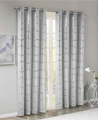 Jcpenney Home Casey Jacquard Grommet Top Curtain Panel – Jc Regarding Primebeau Geometric Pattern Blackout Curtain Pairs (#27 of 38)