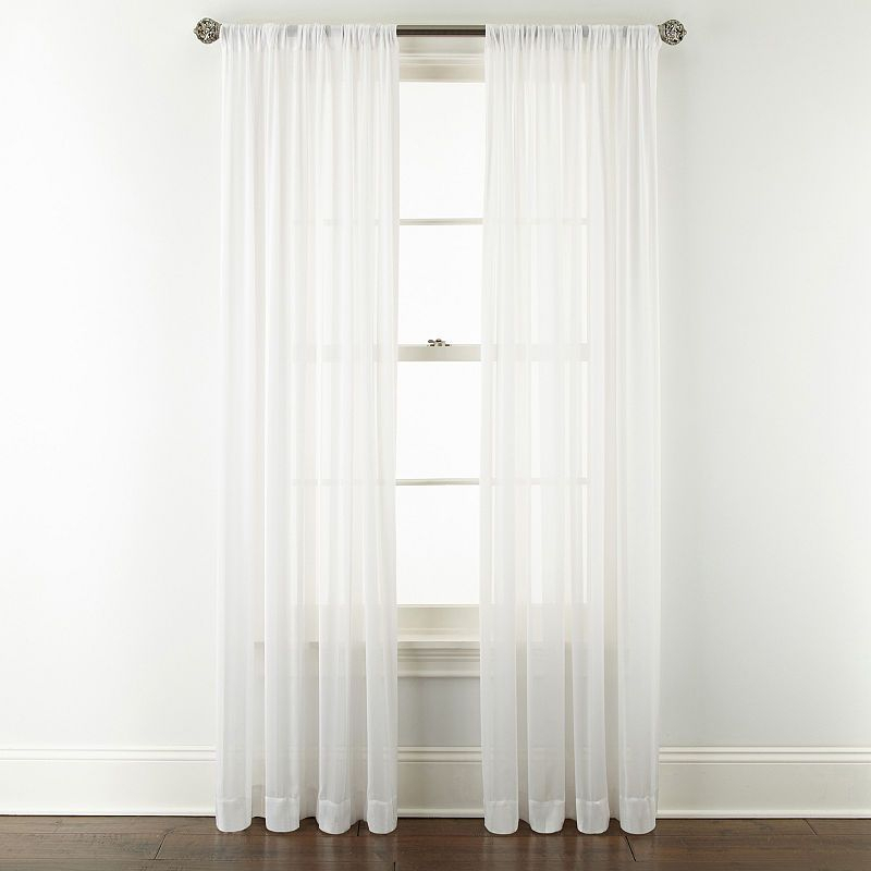 Jcpenney Home Cherise Rod Pocket Sheer Curtain Panel In Rod Pocket Curtain Panels (View 15 of 34)