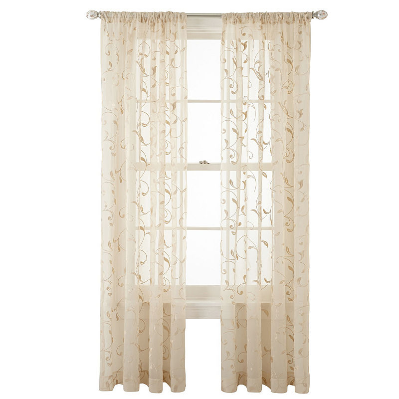 Jcpenney Home Harmon Sheer Rod  Pocket Curtain Panel With Luxury Collection Venetian Sheer Curtain Panel Pairs (#18 of 36)