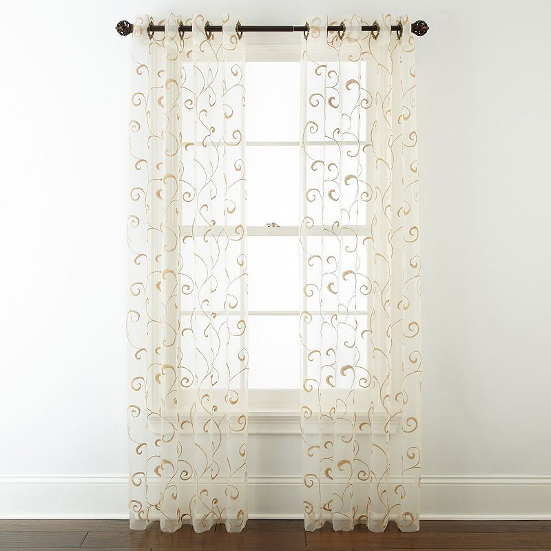 Jcpenney Home Plaza Embroidered Sheer Grommet Top Curtain Throughout The Curated Nomad Duane Jacquard Grommet Top Curtain Panel Pairs (#14 of 50)