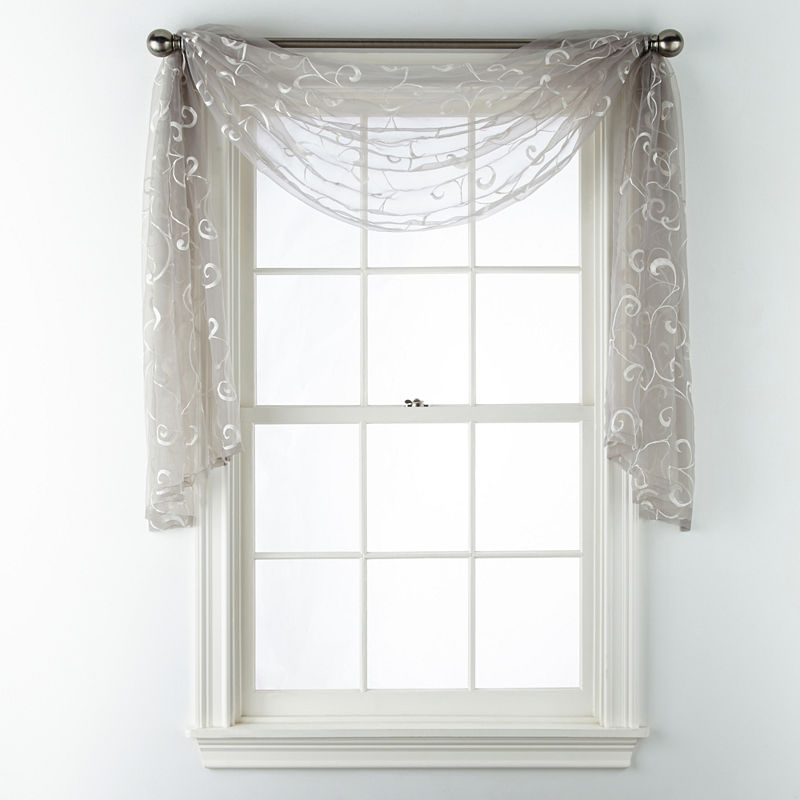 Jcpenney Home Plaza Embroidered Sheer Scarf Valance Jcpenney Within Kaylee Solid Crushed Sheer Window Curtain Pairs (#17 of 40)