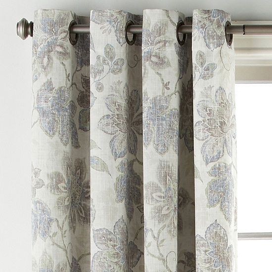 Jcpenney Home Sullivan Floral Bo Blackout Grommet Top With Regard To Luxury Collection Faux Leather Blackout Single Curtain Panels (View 19 of 42)