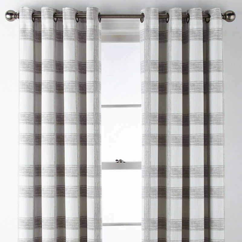 Jcpenney Home Sullivan Plaid Blackout Grommet Top Curtain Throughout Primebeau Geometric Pattern Blackout Curtain Pairs (#28 of 38)