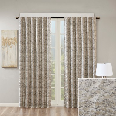 Jla Home Aurora Jacquard Total Blackout Panel Charcoal (Grey Within Cyrus Thermal Blackout Back Tab Curtain Panels (#18 of 39)