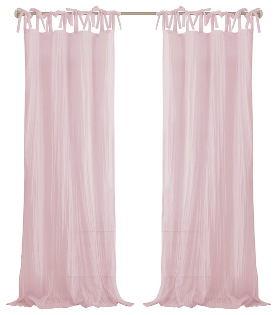 "Jolie Sheer Tie Top Window Curtain, Pink, 52""x84"" Regarding Elrene Jolie Tie Top Curtain Panels (#15 of 35)"