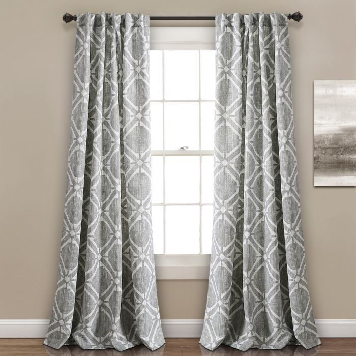 Kane Geo Room Darkening Window Curtain Panels Gray Set 52X84 – Half Moon  16T002493 Inside Julia Striped Room Darkening Window Curtain Panel Pairs (#17 of 37)