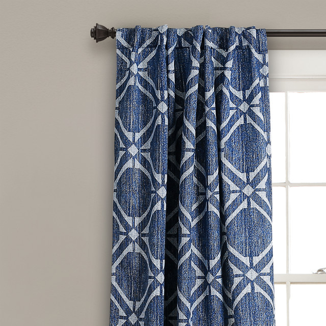 "Kane Geo Room Darkening Window Curtain Panels Navy Set 52""x84"" Intended For Cynthia Jacobean Room Darkening Curtain Panel Pairs (View 27 of 41)"