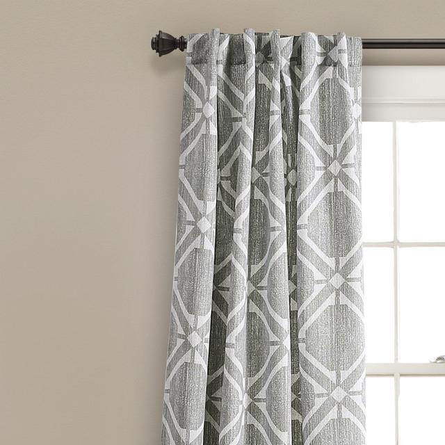 "Kane Geo Room Darkening Window Curtain Panels Set 52""x84"" Throughout Mid Century Geo Room Darkening Window Curtain Panel Pairs (#19 of 43)"