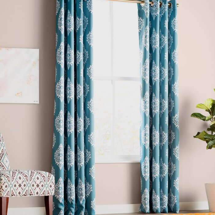 Kassie Damask Room Darkening Thermal Grommet Curtain Panels With Regard To Mecca Printed Cotton Single Curtain Panels (View 8 of 50)