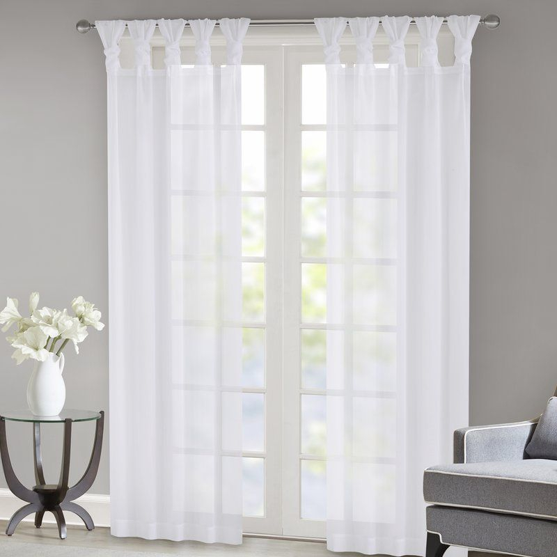 Kater Twisted Voile Solid Color Sheer Tab Top Curtain Panels For Elowen White Twist Tab Voile Sheer Curtain Panel Pairs (View 21 of 36)