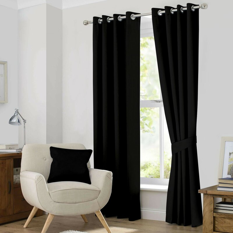 Kaylee Solid Blackout Thermal Grommet Curtain Panels In Classic Hotel Quality Water Resistant Fabric Curtains Set With Tiebacks (#21 of 50)