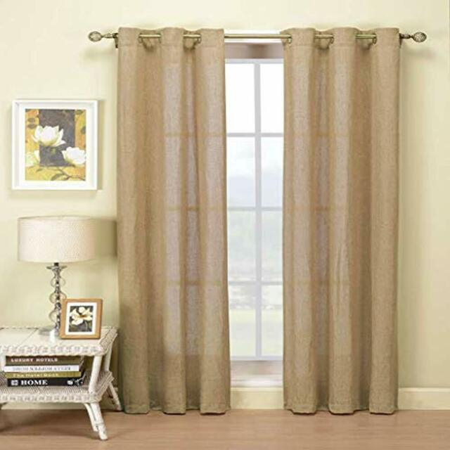 – Keighley Draperies & Curtains Natural Linen Blend Textured Grommet Top  Window Intended For Kochi Linen Blend Window Grommet Top Curtain Panel Pairs (#1 of 36)