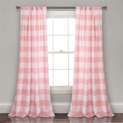 """Kelly Checker Juvy Window Panel Pink 84"""" X 52"""" 2 Pc Set 100% Polyester For Lydia Ruffle Window Curtain Panel Pairs (View 41 of 43)"""
