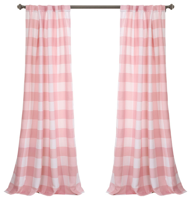 "Kelly Checker Room Darkening Window Curtain Panel Set, Pink, 52""x84"" Within Grainger Buffalo Check Blackout Window Curtains (View 26 of 50)"