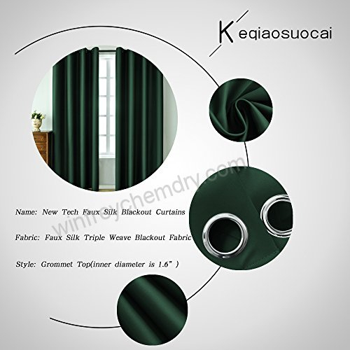 Keqiaosuocai 2 Panels Green Blackout Curtains 63 Inches Long Inside Overseas Faux Silk Blackout Curtain Panel Pairs (#26 of 41)