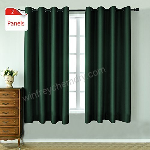 Keqiaosuocai 2 Panels Green Blackout Curtains 63 Inches Long With Overseas Faux Silk Blackout Curtain Panel Pairs (#27 of 41)