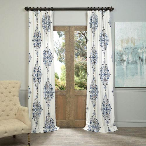 Kerala Blue 108 X 50 Inch Printed Cotton Twill Curtain Single Panel In Mecca Printed Cotton Single Curtain Panels (View 11 of 50)