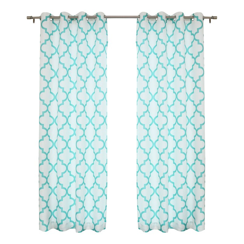 Kermit Geometric Grommet Indoor Panel Pair In Moroccan Style Thermal Insulated Blackout Curtain Panel Pairs (View 42 of 50)
