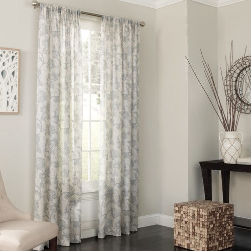 Keystone Nature/floral Sheer Rod Pocket Single Curtain Panel Pertaining To Light Filtering Sheer Single Curtain Panels (View 6 of 38)