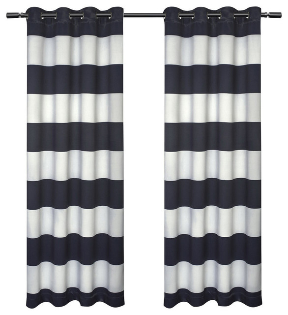 """Kids Rugby Stripe Sateen Darkening Grommet Curtain Panel Pair, Navy, 54"""" X 84"""" Throughout Sateen Twill Weave Insulated Blackout Window Curtain Panel Pairs (View 11 of 29)"""