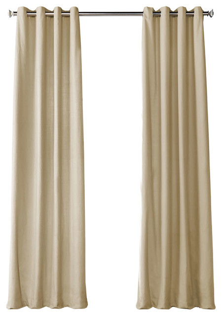 Kilim Beige Solid Country Cotton Grommet Curtain Single Panel, 50W X 96L In Solid Country Cotton Linen Weave Curtain Panels (#21 of 50)