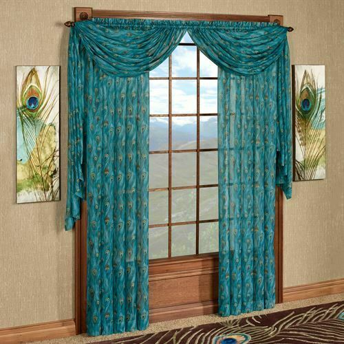 King Peacock Sheer Curtain Panel Sapphire With Erica Sheer Crushed Voile Single Curtain Panels (#27 of 41)