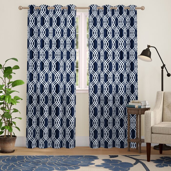 Kinlaw Geometric Blackout Thermal Grommet Curtain Panels In Geometric Print Textured Thermal Insulated Grommet Curtain Panels (View 25 of 45)
