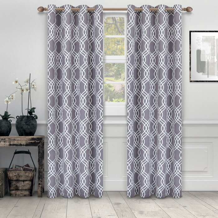 Kinlaw Geometric Blackout Thermal Grommet Curtain Panels Throughout Geometric Print Textured Thermal Insulated Grommet Curtain Panels (View 26 of 45)