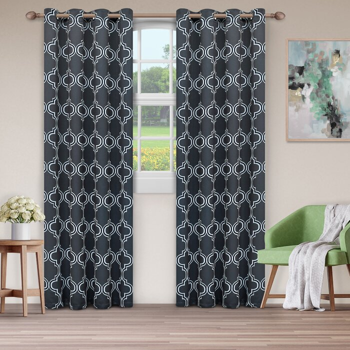 Kinlaw Geometric Blackout Thermal Grommet Panel Pair Pertaining To Thermal Insulated Blackout Grommet Top Curtain Panel Pairs (#30 of 50)