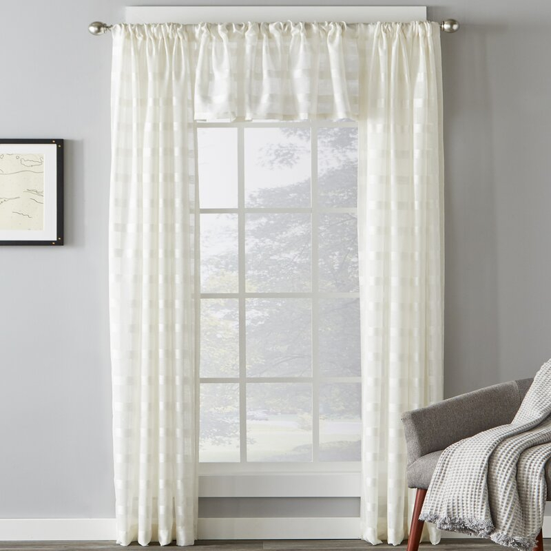 Knap Striped Sheer Rod Pocket Single Curtain Panel In Alison Rod Pocket Lace Window Curtain Panels (View 21 of 44)