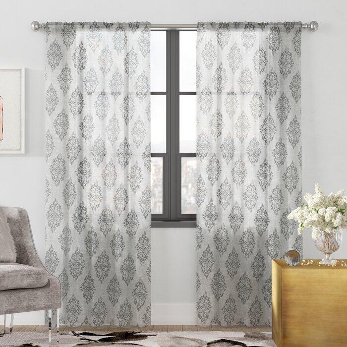 Knisley Belgian Ikat Sheer Rod Pocket Panel Pair In Belgian Sheer Window Curtain Panel Pairs With Rod Pocket (View 36 of 46)