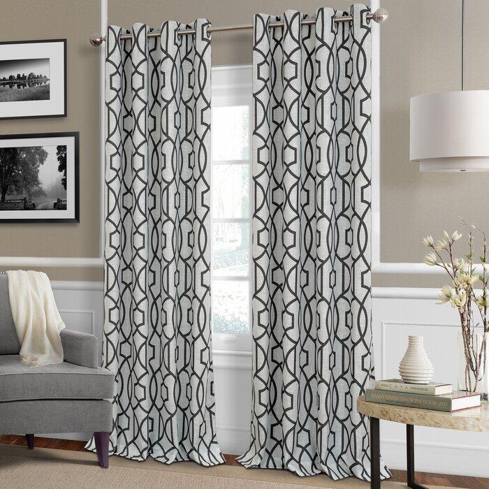 Knopp Geometric Room Darkening Grommet Curtain Panel With Regard To Geometric Linen Room Darkening Window Curtains (View 29 of 50)